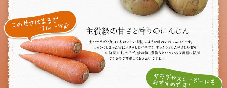 定番野菜3種類 主役級の甘さと香りのにんじん