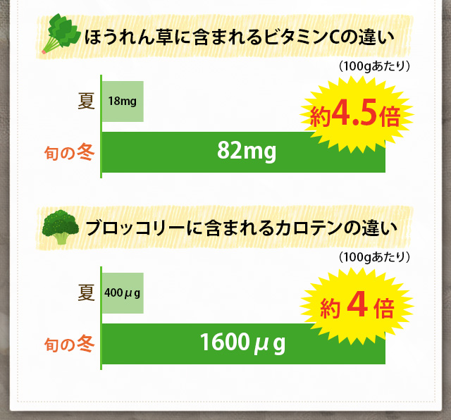 ほうれん草に含まれるビタミンCの違いとブロッコリーに含まれるカロテンの違い