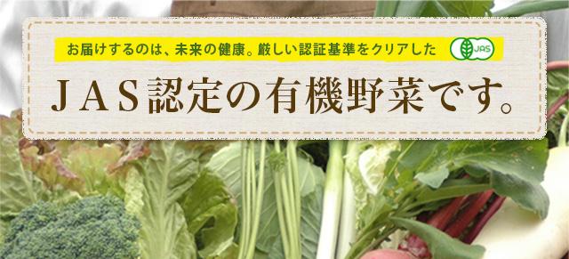 お届けするのは未来の健康。厳しい認証基準をクリアしたJAS認定の有機野菜です。